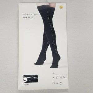 a new day Accessories - A New Day Opaque Gold Stud Backseam Thigh Highs